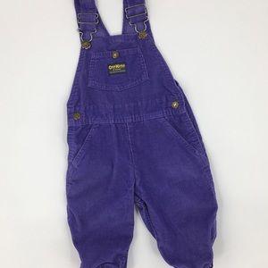 Oshkosh Vintage Purple Vestback Corduroy Overalls